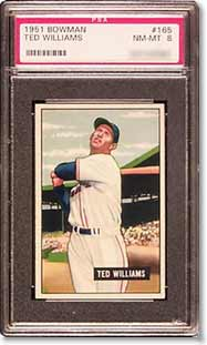 A 1951 Bowman Ted Williams sold for a solid $3,520
