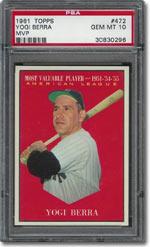 1961 Topps #472 Yogi Berra PSA GEM MINT 10: $9,379.40
