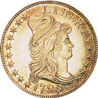 1795 $10 gold eagle first minted at the Philadelphia Mint.