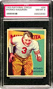 Bronko Nagurski's 1934 National Chicle #34<br>sportscard, graded near mint-mint 8<br>by PSA, the top vintage football card, realized $24,495.