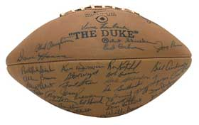 Team signed footballs, like this Green Bay Packer ball, are very collectible
