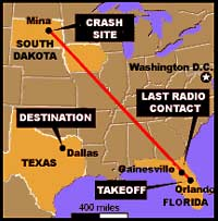 The Learjet carrying Stewart and five others never arrived in Houston,instead continuing another 1,400 miles before crashing.on autopilot