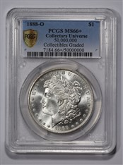 This 1888-O Morgan dollar, graded PCGS MS66+, became the 50 millionth item certified by Collectors Universe.  (Photo credit: Professional Coin Grading Service)
