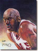 This painting of Michael Jordan shows the detailed work of Gabe Perillo.