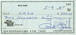 Pete Rose Signed Check
