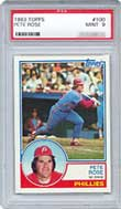1983 Topps Pete Rose card (PSA graded Mint 9)
