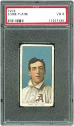 This rare T206 Eddie Plank in PSA 3 VG sold for $12,326.
