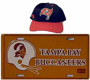 Tampa Bay Bucs memorabilia with new (top)<br>and old  logos