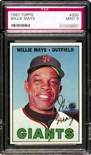 SportsCards Plus sold a 1967 Topps #200 <br>Willie Mays in PSA Mint 9 for $3,201 (Lot 88).
