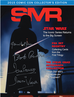 While supplies last visitors to the PSA booth at the San Diego ComicCon can receive a free copy of SMR magazine that contains informative stories about Star Wars collectibles, and visitors also can receive a free PSA-certified sample trading card.