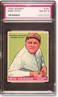 This Ruth card is one of the four from the 1933 Goudey set.
