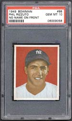This Gem Mint Phil Rizzuto 1949 Bowman fetched $4,255 at auction