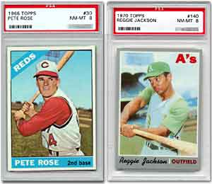 No '66 Topps Pete Rose card has ever graded PSA 9 or better.<br>Only three Reggie Jackson's have graded PSA 9 (no 10s).<br>These examples are the best most collectors will ever find.