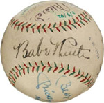Baseball autographed by Ruth, Gehrig, DiMaggio, Mantle and more