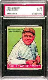 A 1933 Goudey #181 Babe Ruth in PSA 8 and PSA 5<br>is about $28,000 currently! Choosing a mid-grade card<br>allows collectors who aren't able to afford the higher grade<br>to own a more affordable example.