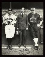 Babe's personality shines through in a classic photo of Babe with Lou Gehrig and his agent Christy Walsh.