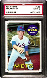 This 1969 Topps Nolan Ryan #533  Mint 9 (Lot 896)<br> captures the young pitcher faking a throw to first base <br>(note the ball still in his glove).