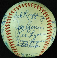 Baseball Signed by Satchel Paige, Joe Cronin and others