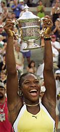 A triumphant Serena Williams after winning the U.S. Open.