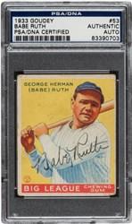 Signed 1933 Goudey Babe Ruth #53