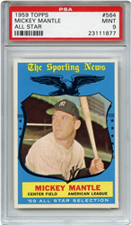 Lot 9: 1959 Topps Mantle AS PSA 9