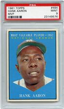 Lot 8: 1961 Topps Aaron MVP PSA 9