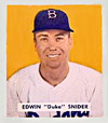 Duke Snider's 1949 Bowman rookie card<br> is currently valued at $7700.
