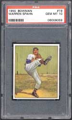 How much is a Gem Mint 10 Warren Spahn 1950 Bowman worth? This one went for $11,891