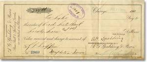 1908 cashiers check