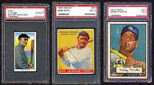 A great selection of vintage cards are also available,<br>like this 1911 T206 Ty Cobb in PSA EX_MT 6 (lot 17);<br>a 1933 Goudey 53 Babe Ruth PSA VG 3 (lot 19);<br> and a 1952 Topps 311 Mickey Mantle PSA EX 5,<br>are among the highlights.