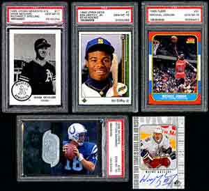 Collectors can add to their modern collections by bidding<br>on spectacular PSA 10's like a 1985 Chong Modesto A's 17 Mark McGwire<br>, with misspelled name (lot 487);<br>1989 Upper Deck 1 Ken Griffey Jr. Star Rookie (lot 618);<br>a '86 Fleer 57 Michael Jordan (lot 1306);<br>'96 SPx 181 Peyton Manning (lot 1057);<br> or an ungraded '99 SP WG Gretzkky Sign of the Times (lot 1572).