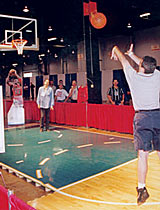 Radio personality Dan Bernstein takes the shot for charity.