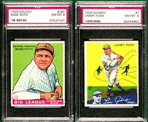 This 1933 Goudey Babe Ruth #181 card earned $30,475,<br>while this 1933 Goudey Jimmy Foxx <br>topped the auction at $31,050.