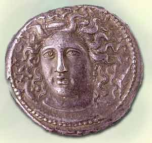 One of Kimon's innovative, high-relief coins