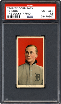 "The front and back of the finest known T206 Ty Cobb with Ty Cobb back, one of the recently discovered ""The Lucky 7 Find"" cards authenticated by PSA. (Photo credit: Professional Sports Authenticator.)"