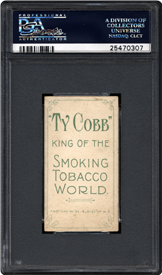 """The front and back of the finest known T206 Ty Cobb with Ty Cobb back, one of the recently discovered """"The Lucky 7 Find"""" cards authenticated by PSA. (Photo credit: Professional Sports Authenticator.)"""
