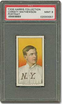 T206 Christy Mathewson Graded PSA 9 from the Harris Collection.