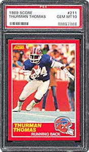 Thurman Thomas' rookie card is frequently offered on large auction sites.