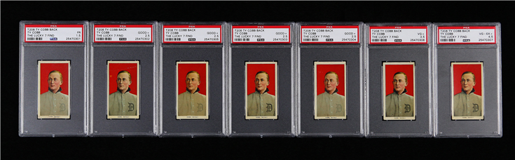 "Now pedigreed by PSA as ""The Lucky 7 Find,"" these are the T206 Ty Cobb with Ty Cobb back cards recently discovered in the home of their anonymous owner's deceased great-grandfather. (Photo credit: Professional Sports Authenticator.)"