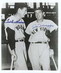 Williams ended the 1941 season with a .406 batting average; DiMaggio with a 56-game hitting streak