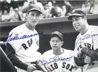Williams with teammate and center fielder Dom DiMaggio and Dom's brother, rival Joe DiMaggio