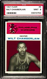 Fleer's 1961-62 Chamberlain Rookie card <br>in PSA MT9, is one of the three <br>most important cards among basketball collectibles.