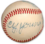 Cy Young single signed baseball - sold for $18,520