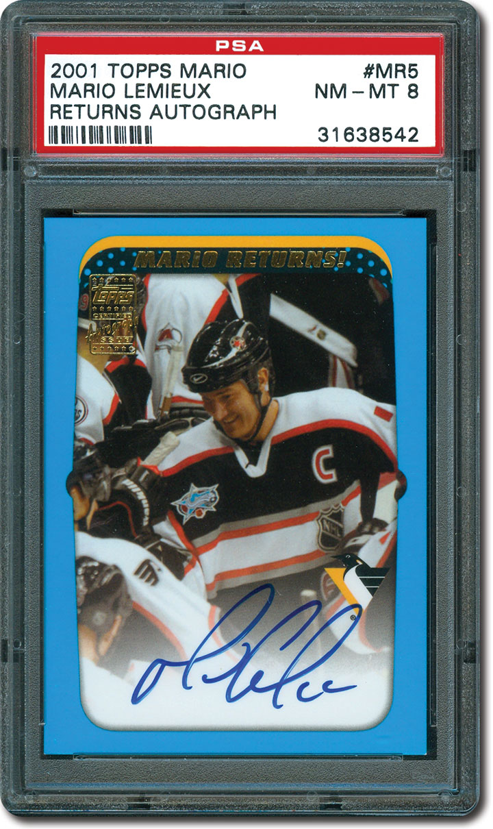 100 Most Valuable Hockey Cards - Sixty six of each of the five cards that comprise this insert set were signed by lemieux to commemorate his 2000 01 comeback
